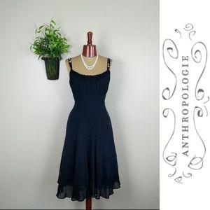 Odille Anthropologie Black Ruffle Beaded Dress 10